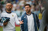 Seattle, WA - Tuesday June 14, 2016: Argentina midfielder Javier Mascherano (14) and Argentina midfielder Lionel Messi (10) prior to a Copa America Centenario Group D match between Argentina (ARG) and Bolivia (BOL) at CenturyLink Field