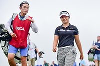 Jeong Eun Lee (KOR) smiles as she departs the 16th tee during Friday's second round of the 72nd U.S. Women's Open Championship, at Trump National Golf Club, Bedminster, New Jersey. 7/14/2017.<br /> Picture: Golffile | Ken Murray<br /> <br /> <br /> All photo usage must carry mandatory copyright credit (&copy; Golffile | Ken Murray)