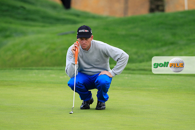 Anders Hansen (DEN) lines up his putt on the 16th green during Thursday's Round 1 of the Open de Espana at Real Club de Golf de Sevilla, Seville, Spain, 3rd May 2012 (Photo Eoin Clarke/www.golffile.ie)