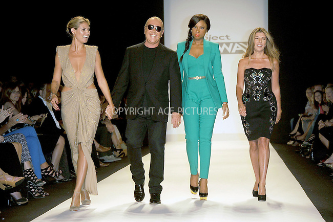 WWW.ACEPIXS.COM . . . . . .September 7, 2012...New York City.....Model Heidi Klum, designer Michael Kors, singer Jennifer Hudson and Nina Garcia walk the runway at the Project Runway Spring 2013 fashion show during Mercedes-Benz Fashion Week on September 7, 2012 ...Please byline: KRISTIN CALLAHAN - ACEPIXS.COM.. . . . . . ..Ace Pictures, Inc: ..tel: (212) 243 8787 or (646) 769 0430..e-mail: info@acepixs.com..web: http://www.acepixs.com .