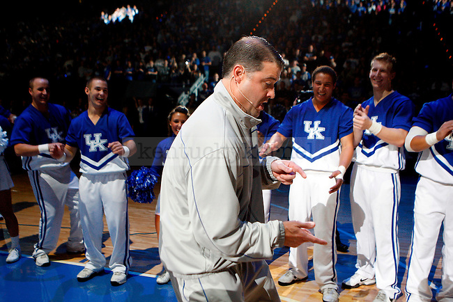 UK women's basketball head coach Matthew Mitchell dances onto the floor at Big Blue Madness at Rupp Arena on Friday, Oct. 15, 2010. Photo by Britney McIntosh | Staff