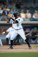 Anyesber Sivira (40) of the Augusta GreenJackets at bat against the Kannapolis Intimidators at SRG Park on July 6, 2019 in North Augusta, South Carolina. The Intimidators defeated the GreenJackets 9-5. (Brian Westerholt/Four Seam Images)