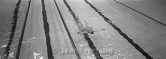 Mickey Hansen swimming at the Deseret Gym.<br />