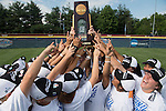 30 MAY 2016:  Texas Tyler players celebrate with the National Championship trophy after winning the Division III Women's Softball Championship held at the James I Moyer Sports Complex in Salem, VA.  University of Texas-Tyler defeated Messiah College 7-0 for the national title. Don Petersen/NCAA Photos
