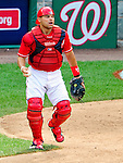 26 September 2010: Washington Nationals catcher Ivan Rodriguez in action against the Atlanta Braves at Nationals Park in Washington, DC. The Nationals defeated the pennant-seeking Braves 4-2 to take the rubber match of their 3-game series. Mandatory Credit: Ed Wolfstein Photo