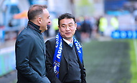 Sheffield Wednesday manager Carlos Carvalhal  talks to Sheffield Wednesday owner Dejphon Chansiri<br /> <br /> Photographer Andrew Vaughan/CameraSport<br /> <br /> The EFL Sky Bet Championship Play-Off Semi Final First Leg - Huddersfield Town v Sheffield Wednesday - Saturday 13th May 2017 - The John Smith's Stadium - Huddersfield<br /> <br /> World Copyright &copy; 2017 CameraSport. All rights reserved. 43 Linden Ave. Countesthorpe. Leicester. England. LE8 5PG - Tel: +44 (0) 116 277 4147 - admin@camerasport.com - www.camerasport.com