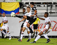 Orlando, FL - Saturday Jan. 21, 2017: Corinthians midfielder Guilherme (10) plays the ball away from. São Paulo midfielder T. Mendes (23) during the first half of the Florida Cup Championship match between São Paulo and Corinthians at Bright House Networks Stadium.