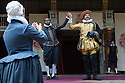 London, UK. 27.06.2015. Shakespeare's Globe presents MEASURE FOR MEASURE, by William Shakespeare, directed by Dominic Dromgoole. Picture shows: Kurt Egyiawan (Angelo), Dominic rowan (Duke Vincentio). Photograph © Jane Hobson.