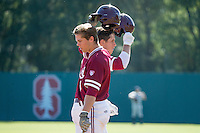 STANFORD, CA - February 20, 2016:  Stanford plays its season opener vs Cal State Fullerton at Klein Field at Sunken Diamond. Stanford won 2-0. Mikey Diekroeger hits his first home run of the season.