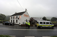 Pictured: Ambulances on stand by at Tafarn y Gerreg in Powys, Wales UK. Wednesday 29 June 2016<br />