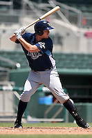 GCL Rays first baseman Zach Marberry (34) at bat during a game against the GCL Red Sox on June 25, 2014 at JetBlue Park at Fenway South in Fort Myers, Florida.  GCL Red Sox defeated the GCL Rays 7-0.  (Mike Janes/Four Seam Images)