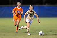 21 August 2011:  FIU's Nicole DiPerna (16) takes the ball to the goal in the second half with Florida's Havana Solaun (19) in pursuit as the University of Florida Gators defeated the FIU Golden Panthers, 2-0, at University Park Stadium in Miami, Florida.