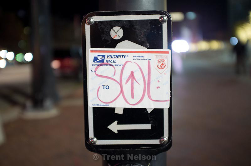 SOL sticker, in Salt Lake City, Utah, Saturday, November 26, 2011.