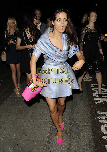 Bip Ling<br /> The Serpentine Gallery Summer Party, Serpentine Gallery, Kensington Gardens, Hyde Park, London, England.<br /> June 26th, 2013<br /> full length blue dress pink bag shoes pointy pointed silk satin cut out shiny mouth open funny <br /> CAP/CAN<br /> &copy;Can Nguyen/Capital Pictures