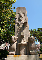 The Hittite Fasillar Monument, finished replica of 13th century BC original. Anatolian Civilizations Museum, Ankara, Turkey<br /> <br /> The original is an unfinished monumental stele that is situated fiat on the back on a slope at the immediate vicinity of the village Fasillar within the Konya province, Beysehir. This is an exact replica of the original that was made of trachyte igneous rock. This represents the origin&amp; that was cast into the mould of the same dimensions and colour. <br /> <br /> The height from the toes to the top of the lions is 7,40 meters. There is also a socket that is 80 cm. Long inserted into the basement. The Hittite monument dates from the end of 13th century BC There appears the great God higher than 4 meters stepping on the smaller mountain God that is accompanied by the lions on.