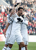 Calcio, Serie A: Sassuolo vs Juventus. Reggio Emilia, Mapei Stadium, 29 gennaio 2017. <br /> Juventus&rsquo; Sami Khedira, center, celebrates with teammates Miralem Pjanic, left, and Paulo Dybala, after scoring during the Italian Serie A football match between Sassuolo and Juventus at Reggio Emilia's Mapei stadium, 29 January 2017.<br /> UPDATE IMAGES PRESS/Isabella Bonotto