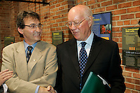 montreal  (QC) CANADA - August 10  2009 - The Honorable Judge John Gomery join Richard Bergeron Projet Montreal, in Montreal's 2009 Municipal elections