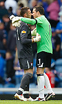 Allan McGregor and Jamie Langfield get all close and personal at the final whistle