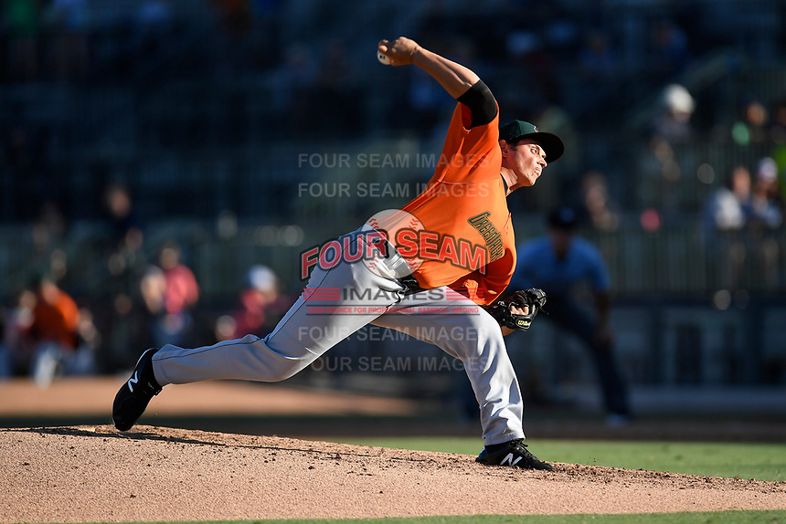 Starting pitcher Stephen Woods (22) of the Augusta GreenJackets delivers a pitch in a game against the Columbia Fireflieon Sunday, July 30, 2017, at Spirit Communications Park in Columbia, South Carolina. Augusta won, 6-0. (Tom Priddy/Four Seam Images)