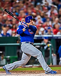 6 October 2017: Chicago Cubs first baseman Anthony Rizzo in action during the first game of the NLDS against the Washington Nationals at Nationals Park in Washington, DC. The Cubs shut out the Nationals 3-0 to take a 1-0 lead in their best of five Postseason series. Mandatory Credit: Ed Wolfstein Photo *** RAW (NEF) Image File Available ***
