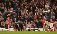 Wales' Liam Williams celebrates scoring his side's tenth try with team-mate Ellis Jenkins<br /> <br /> Photographer Ian Cook/CameraSport<br /> <br /> Under Armour Series Autumn Internationals - Wales v Tonga - Saturday 17th November 2018 - Principality Stadium - Cardiff<br /> <br /> World Copyright © 2018 CameraSport. All rights reserved. 43 Linden Ave. Countesthorpe. Leicester. England. LE8 5PG - Tel: +44 (0) 116 277 4147 - admin@camerasport.com - www.camerasport.com