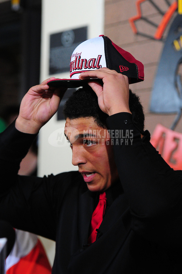 Feb. 1, 2012; Tempe AZ, USA; Corona del Sol Aztecs offensive lineman Andrus Peat at a press conference at Corona del Sol High School to announce his decision to play college football for the Stanford Cardinal. Mandatory Credit: Mark J. Rebilas-