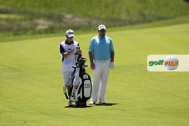 Shane Lowry (IRL) and caddy Dermot Byrne on the 7th hole during Thursday's Round 1 of the 2014 Open de Espana held at the PGA Catalunya Resort, Girona, Spain. Wednesday 15th May 2014.<br /> Picture: Eoin Clarke www.golffile.ie