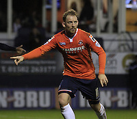 Danny Green of Luton Town points to where he wants the ball during the Sky Bet League 2 match between Luton Town and Wycombe Wanderers at Kenilworth Road, Luton, England on 26 December 2015. Photo by Liam Smith.