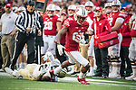 Wisconsin Badgers wide receiver Quintez Cephus (87) carries the ball during an NCAA College Big Ten Conference football game against the Purdue Boilermakers Saturday, October 14, 2017, in Madison, Wis. The Badgers won 17-9. (Photo by David Stluka)