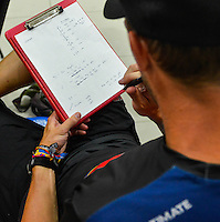 Coach Alex Ghesquiere writes down notes on the USA's strategy before the gold medal match versus Australia.