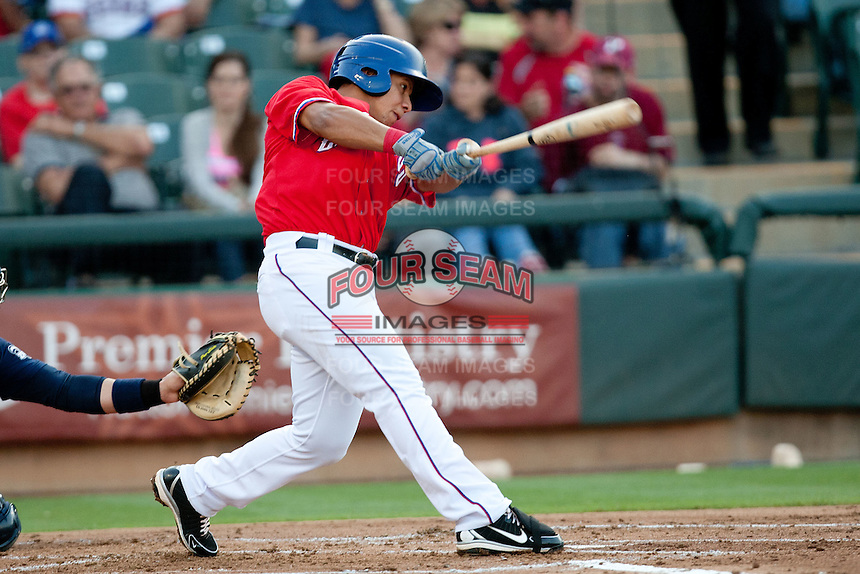 Round Rock Express outfielder Yangervis Solarte #26 swings during the Pacific Coast League baseball game against the New Orleans Zephyrs on May 2, 2012 at The Dell Diamond in Round Rock, Texas. The Express defeated the Zephyrs 10-5. (Andrew Woolley / Four Seam Images)