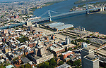 Aerial view of Old City and Ben Franklin Bridge with penns landing and Delaware River and Route 95