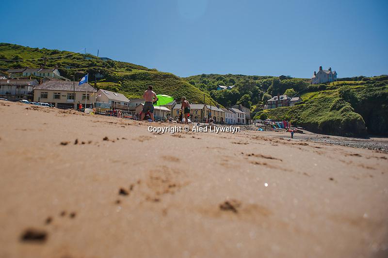 Friday  13  June  2014<br /> <br /> Pictured:  Llangrannog Beach<br /> Re: Views of Llangrannog, Ceredigion, Wales UK