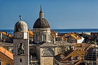 St. Blaise church, and distant Adriatic Sea, Dubrovnik, Croatia a UNESCO World Heritage Site.