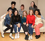 """Lilly Santiago, Sharlene Cruz, Isabelle Fuhrman, Erica Schmidt, Sophia Kelly-Hendrick, AnnaSophia Robb, Ismenia Mendes and Ayana Workman in rehearsal with Red Bull Theater's All-Female """"MACBETH"""" at the Vineyard Theatre Rehearsal Studios on April 12, 2019 in New York City."""
