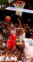 USA guard #5 Stephon Marbury drives to the basket for a lay-up during the 2004 USA Men's Senior National (Olympic) Team exhibition game against Puerto Rico Senior National (Olympic) Team at the Jacksonville Veteran's Memorial Arena in Jacksonville, Fl. (Rick Wilson/The Florida Times-Union)