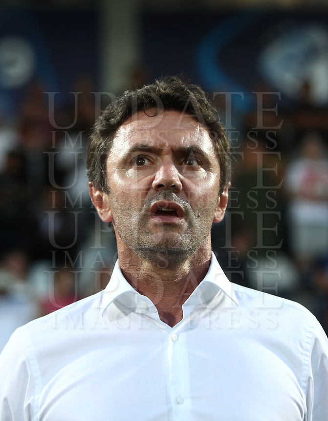 Football: Uefa under 21 Championship 2019, England - France, Dino Manuzzi stadium Cesena Italy on June18, 2019.<br /> France's under 21 national team coach Sylvain Ripoll during the France's national anthem prior to the start of the Uefa under 21 Championship 2019 football match between England and France at Dino Manuzzi stadium in Cesena, Italy on June18, 2019.<br /> UPDATE IMAGES PRESS/Isabella Bonotto