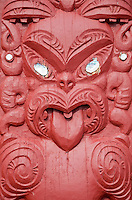 Maori Poupou, Carved to represent an Ancestral Figure, Entrance to Meeting House Grounds, Paihia, north island, New Zealand.