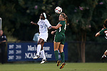 12 September 2013: Miami's Erin McGovern (right) is challenged for a header by Duke's Toni Payne (10). The Duke University Blue Devils hosted the University of Miami Hurricanes at Koskinen Stadium in Durham, NC in a 2013 NCAA Division I Women's Soccer match. Duke won the game 3-0.