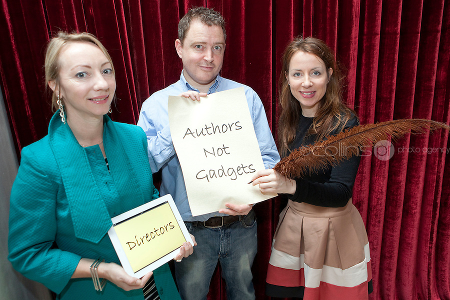 """NO REPRO FEE. 14/4/2011. Authors not Gadgets. Pictured are Juanita Wilson, Oscar nominated Irish filmmaker (The Door, As If I Am Not There) and Darragh O'Connell, Oscar Nominated Brownbag Films based in Dublin (""""Octonauts"""") and  Birch Hamilton , Executive Director, Screen Directors Guild of Ireland (SDGI). The Screen Directors Guild of Ireland (SDGI) welcomed a large number of directors and writers from across the globe to a high-profile international conference in The Morrison Hotel, Dublin today. The conference has a particular focus on the issue of authors' rights as many directors and writers are struggling to have their voices heard amidst the technological clatter and noise. Picture James Horan/Collins Photos"""