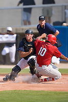 Curt Smith (10) of the Johnson City Cardinals is tagged out at home plate by Catcher Ray Redden (4) of the Danville Braves at Dan Daniels Park in Danville, VA, Sunday July 27, 2008.