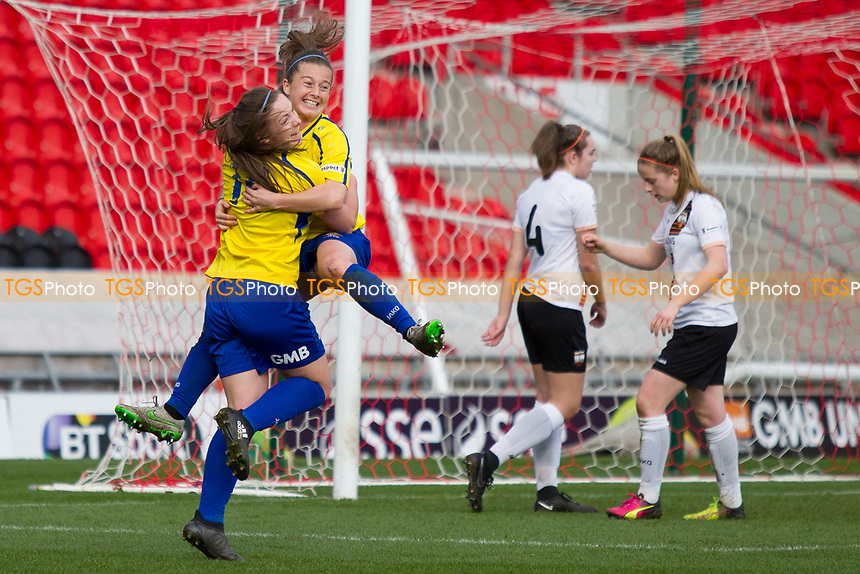 Christie Murray with Kirsty Handson celebrate the formers goal during Doncaster Rovers Belles vs London Bees, FA Women's Super League FA WSL2 Football at the Keepmoat Stadium on 12th March 2017