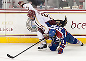 Bill Arnold (BC - 24), Josh Holmstrom (UML - 12) - The University of Massachusetts Lowell River Hawks defeated the Boston College Eagles 4-2 (EN) on Tuesday, February 26, 2013, at Kelley Rink in Conte Forum in Chestnut Hill, Massachusetts.