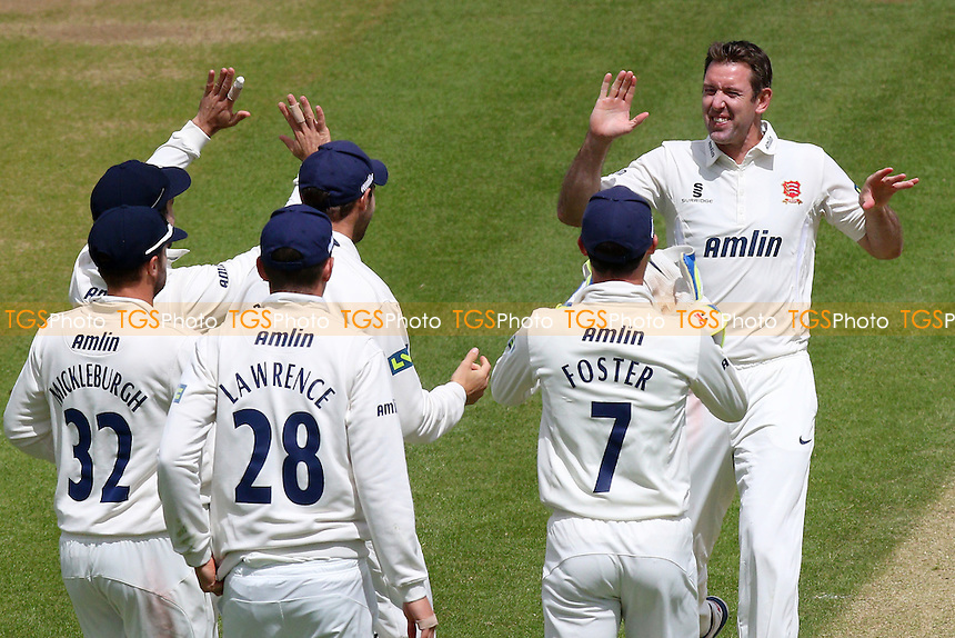 David Masters (R) of Essex is congratulated by his team mates after taking the wicket of Will Bragg - Glamorgan CCC vs Essex CCC - LV County Championship Division Two Cricket at the SWALEC Stadium, Sophia Gardens, Cardiff, Wales - 20/05/15 - MANDATORY CREDIT: TGSPHOTO - Self billing applies where appropriate - contact@tgsphoto.co.uk - NO UNPAID USE