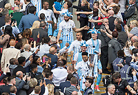 Jordan Willis of Coventry City & his team walk the steps down to the pitch with the Trophy after the The Checkatrade Trophy / EFL Trophy FINAL match between Oxford United and Coventry City at Wembley Stadium, London, England on 2 April 2017. Photo by Kevin Prescod.