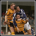 24/8/02         Copyright Pic : James Stewart                     .File Name : stewart-alloa v falkirk 02.KEVIN JAMES TUSSLES WITH MARK COWAN AND CRAIG VALENTINE....James Stewart Photo Agency, 19 Carronlea Drive, Falkirk. FK2 8DN      Vat Reg No. 607 6932 25.Office : +44 (0)1324 570906     .Mobile : + 44 (0)7721 416997.Fax     :  +44 (0)1324 570906.E-mail : jim@jspa.co.uk.If you require further information then contact Jim Stewart on any of the numbers above.........