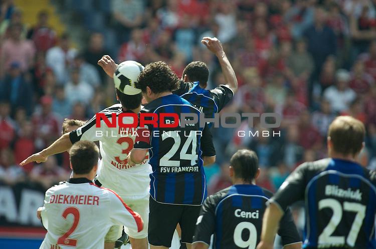 2. Bundesliga 2008 / 2009 29. Spieltag R&uuml;ckrunde<br /> FSV Frankfurt - 1. FC N&uuml;rnberg<br />   <br /> Angelo Barletta (Frankfurt #24) setzt sich gegen Dominik Maroh (N&uuml;rnberg #32) und Dennis Diekmeier (N&uuml;rnberg #2) durch und macht das 1:1. Emil Noll (Frankfurt #33), Mat&iacute;as Cenci (Frankfurt #9) und Gennadi Blizniuk (Frankfurt #27) brauchen nicht zu helfen.<br /> <br /> Foto &copy; nph (  nordphoto  )<br /> <br /> ***** Local Caption *****