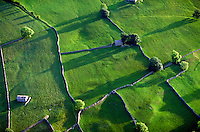 Aerial, pastoral English countryside.