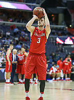 Washington, DC - March 10, 2018: Davidson Wildcats guard Jon Axel Gudmundsson (3) takes a technical foul shot during the Atlantic 10 semi final game between St. Bonaventure and Davidson at  Capital One Arena in Washington, DC.   (Photo by Elliott Brown/Media Images International)