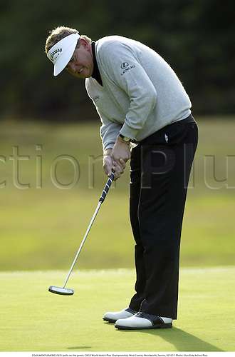 COLIN MONTGOMERIE (SCO) putts on the green, CISCO World Match Play Championship, West Course, Wentworth, Surrey, 021017. Photo: Glyn Kirk/Action Plus....2002.golf golfing golfer golfers.greens.putt putting